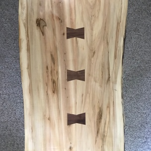 Live Edge Coffee Table Walnut butterfly surface joints, Oak finger joint legs
