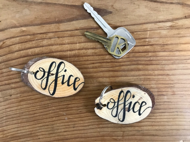 """Office"" wood slice keychains"