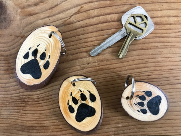"Bear Print, ""Nature Hike"" wood slice keychains"