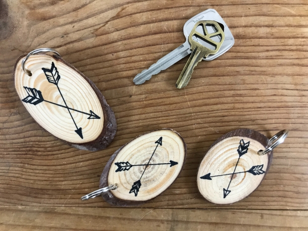 "Arrows, ""Nature Hike"" wood slice keychains"