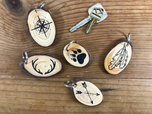 """Nature Hike"" wood slice keychains"
