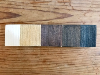 Stain Options (from left to right): Pine (No Stain), Golden Oak, Red Mahogany, Walnut, Ebony